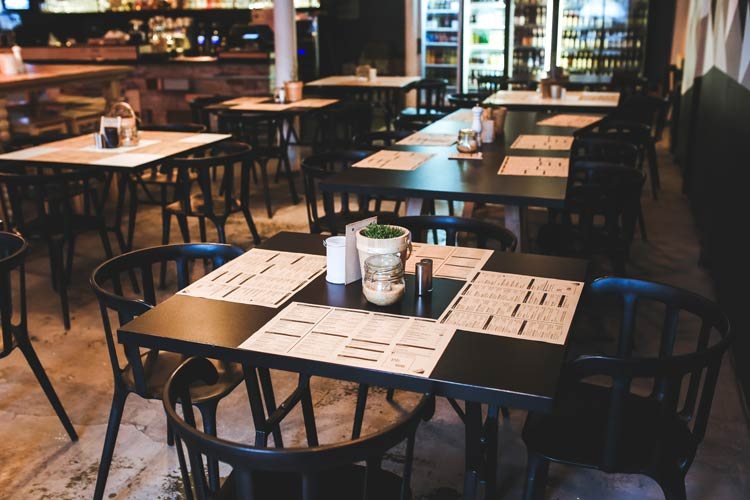 Restaurant interior protected by CrossRoads restaurant commercial insurance services